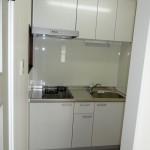 * 清潔感がある白いキッチン。<br />   収納もたっぷりあります。